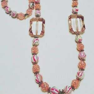Jewelry - Cotton Candy 3 piece Earring, Necklace & Stretch B
